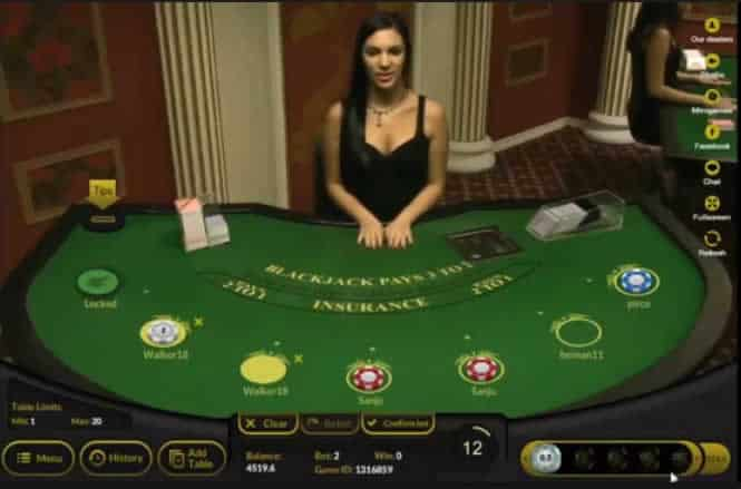 Example Of A Live Dealer BJ Table